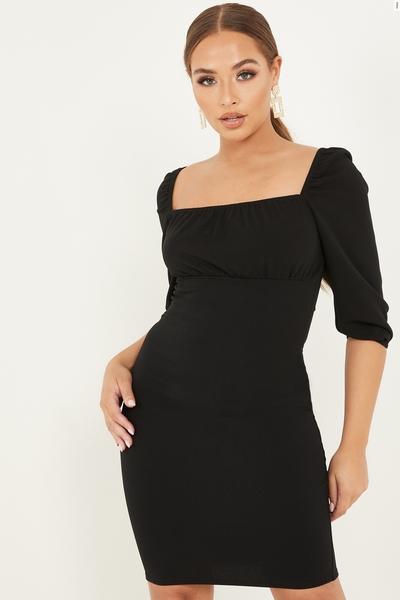 Petite Black Ruched Bodycon Midi Dress